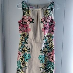 Beige floral dress pink green blue yellow flowers